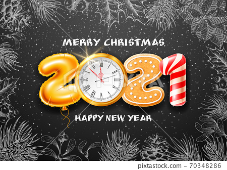 Merry Christmas And Happy New Year Greeting Card 70348286