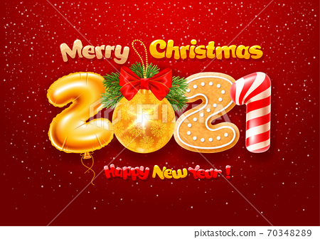 Merry Christmas And Happy New Year Greeting Card 70348289