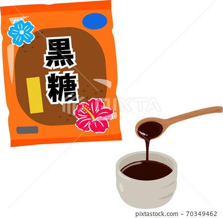 黑蜂蜜放在一個小碗裡,黑糖放在一個袋子裡 70349462