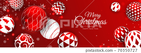 Merry Christmas and Happy New Year Holiday. Xmas design with realistic vector 3d objects, golden christmass ball, snowflake, glitter gold confetti. 70350727