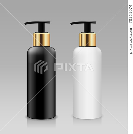 Bottle pump white and black with gold cap products collection, design on gray background 70351074