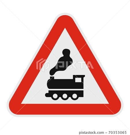 Railway crossing without barrier icon, flat style. 70353065