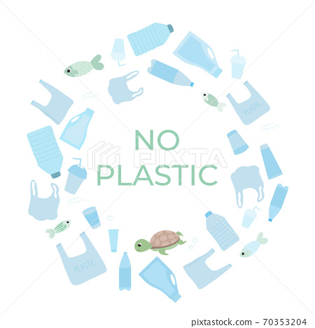 World ocean day, stop plastoc pollution, ecology water protection on white background with marine life 70353204