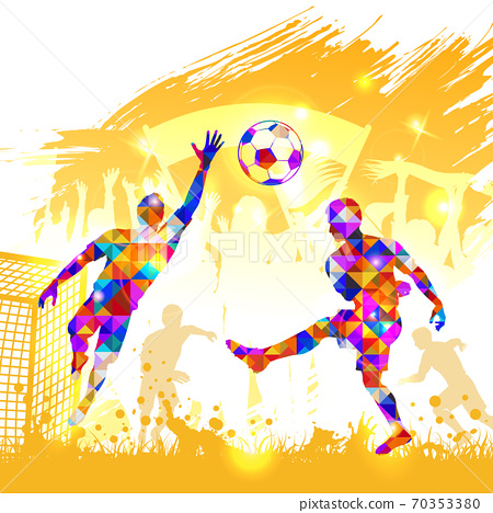 Poster Soccer Player Victory Blow 70353380