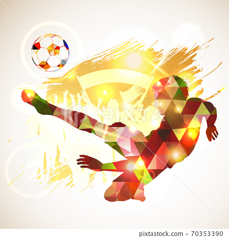 Poster Soccer Player Victory Blow 70353390