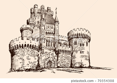 Medieval stone castle with towers on the plain. 70354308
