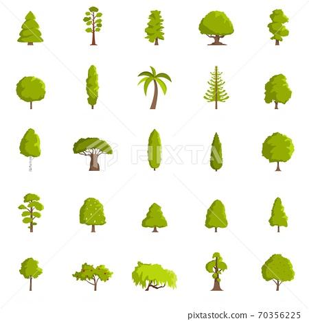 Tree icons set, flat style 70356225