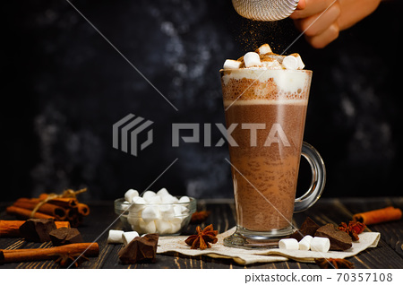 hot cocoa with whipped cream 70357108