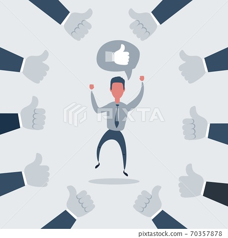 Happy and proud businessman with many thumbs up hands around him. Vector illustration 70357878
