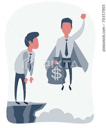 Businessman superhero flies up and leaves a surprised man on the cliff. Super worker in the cape 70357905