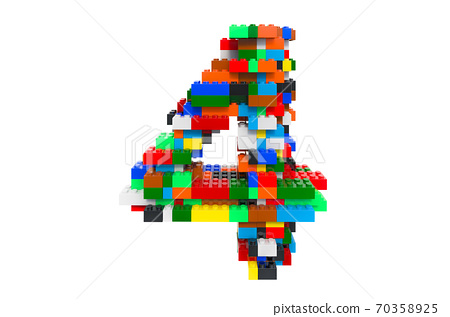 Number 4 from colorful building toy blocks, 3D rendering 70358925
