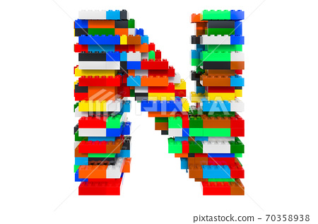 Letter N from colorful building toy blocks, 3D rendering 70358938