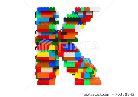 Letter K from colorful building toy blocks, 3D rendering 70358942