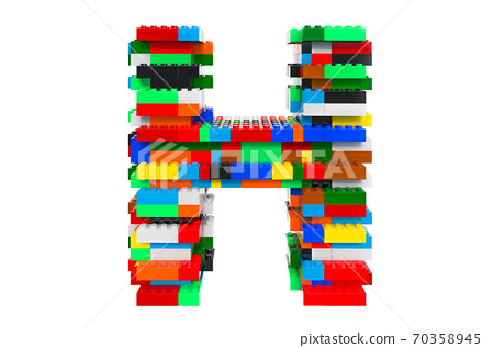 Letter H from colorful building toy blocks, 3D rendering 70358945