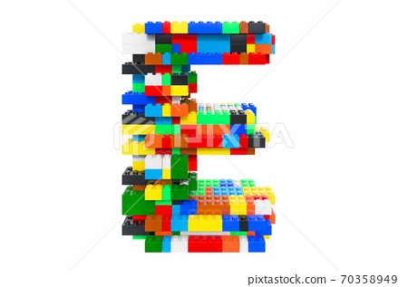 Letter E from colorful building toy blocks, 3D rendering 70358949