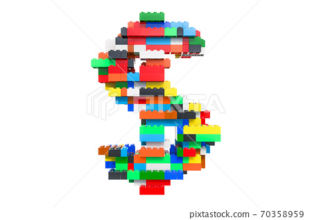 Dollar from colorful building toy blocks, 3D rendering 70358959