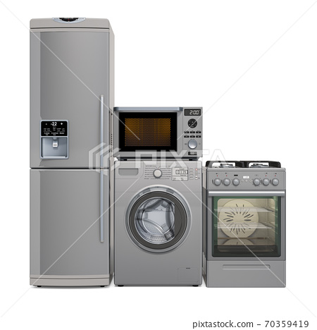 Set of silver kitchen appliances. Washing machine, fridge, gas range, microwave oven. 3D rendering 70359419