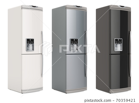 Refrigerators, silver, white and black colors, side views. 3D rendering 70359421