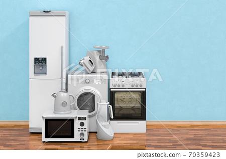 Modern kitchen appliances in room on the wooden floor, 3D rendering 70359423
