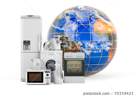 Kitchen household appliances with Earth Globe. Global shopping concept, 3D rendering 70359425