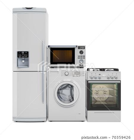 Kitchen appliances. Washing machine, fridge, gas range, microwave oven. 3D rendering 70359426