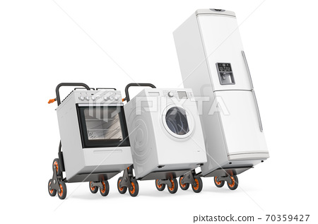 Hand trucks with fridge, washing machine and gas stove. Delivery of household kitchen appliances concept. 3D rendering 70359427