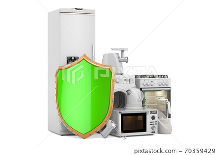 Guarantee and protection kitchen appliances concept. 3D rendering 70359429