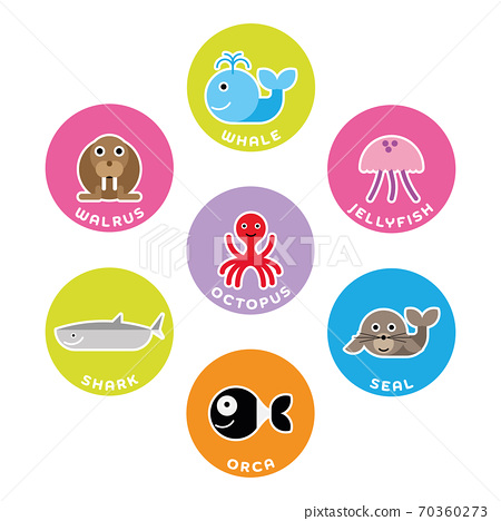 Sea and ocean animals collection. Set of 7 cartoon characters in the circle with name labels. Vector illustration 70360273