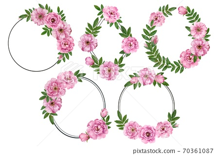 Cute romantic vintage floral frames with wild rose flowers. Watercolor hand drawn illustration. 70361087
