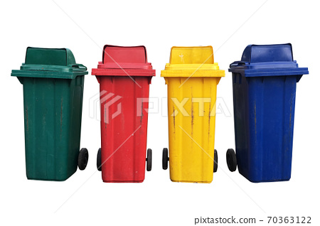 Four colorful recycle bins with clipping path isolated on white background 70363122