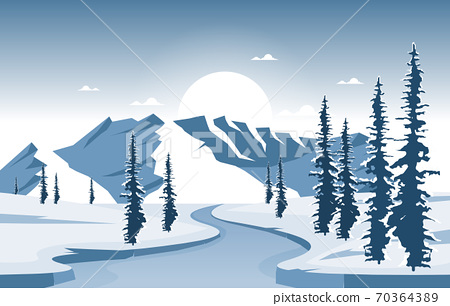 Winter Snow Pine Mountain Frozen River Nature Landscape Illustration 70364389