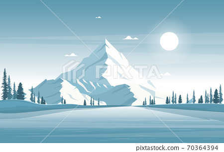 Winter Snow Pine Mountain Calm Nature Landscape Illustration 70364394