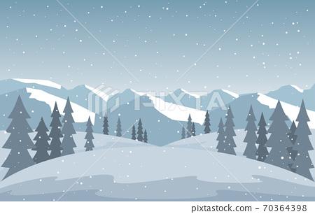 Winter Snow Pine Mountain Snowfall Nature Landscape Illustration 70364398