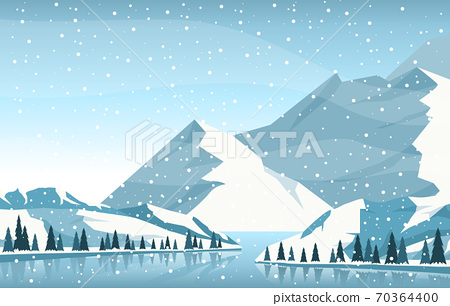 Winter Snow Pine Mountain River Snowfall Nature Landscape Illustration 70364400