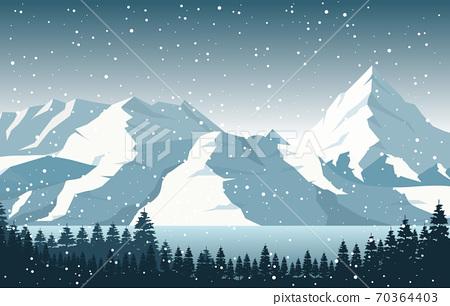 Winter Snow Pine Mountain Lake Snowfall Nature Landscape Illustration 70364403