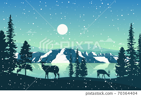 Winter Snow Pine Mountain Lake Snowfall Nature Landscape Illustration 70364404