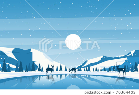 Winter Snow Pine Mountain Lake Deer Nature Landscape Illustration 70364405