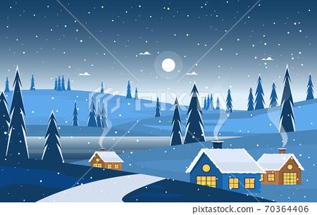 Winter Snow Pine Mountain House Street Nature Landscape Illustration 70364406