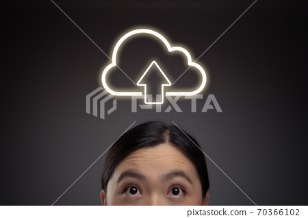 Happy Asian woman and cloud icon hologram effect. 70366102