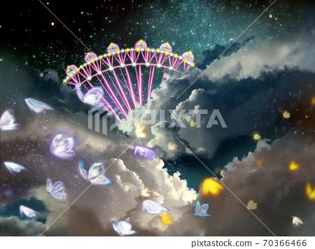 우주와 함께 속의 빛나는 관람차와 즐겁게 춤추는 나비 70366466