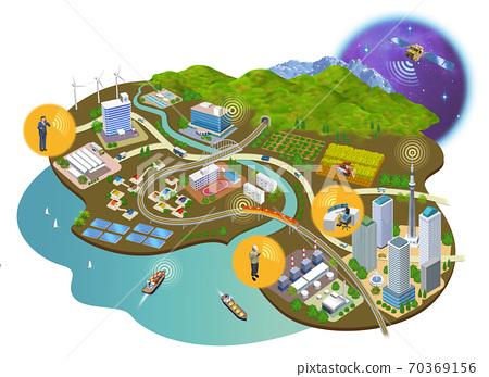인터넷 사회의 주택과 건물의 거리 풍경 3D 일러스트 70369156