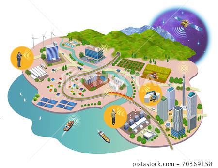 인터넷 사회의 주택과 건물의 거리 풍경 3D 일러스트 70369158