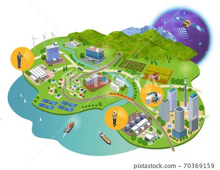 인터넷 사회의 주택과 건물의 거리 풍경 3D 일러스트 70369159