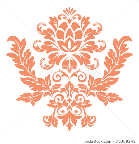 Damask graphic ornament. Floral design element. Pink  70369245