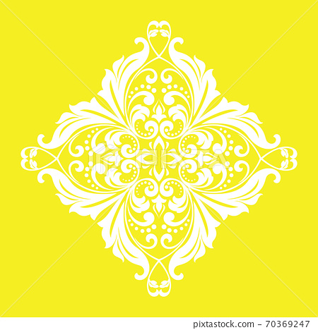 Damask graphic ornament. Floral design element. Yellow  70369247