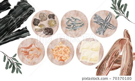 在木板上的日式湯的物質插圖 70370180
