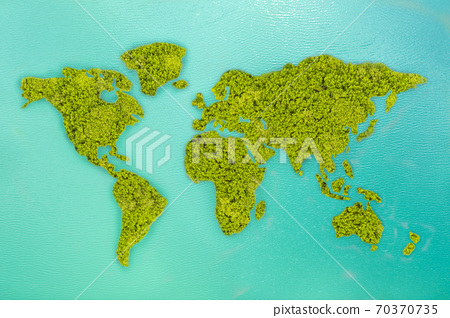 Aerial view small green island that shape looks 70370735