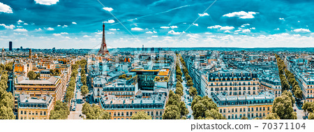 Beautiful panoramic view of Paris from the roof of the Triumphal Arch. View of the Eiffel Tower. 70371104