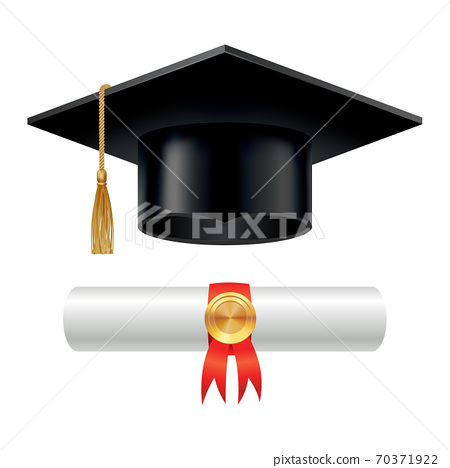 Graduation cap and rolled diploma scroll with stamp. Finish education concept. Academic hat with tassel and university degree certificate. Vector illustration for announcement banner poster or flyer 70371922