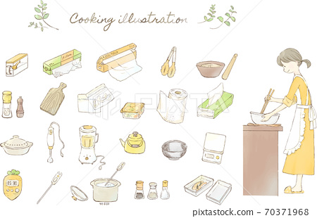 插圖集的烹飪婦女和廚房用具 70371968